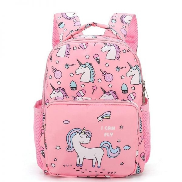 backpack unicorn pink emoji bag at back and backpack unicorn