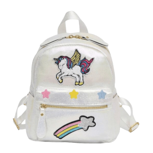 backpack white unicorn at glitter bag at back and backpack unicorn