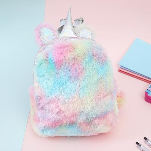 bag at back unicorn fur bag at back and backpack unicorn
