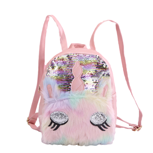 bag at back unicorn fur glitter bag at back and backpack unicorn