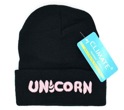 beanie women teenager unicorn white and pink logo pink at sell