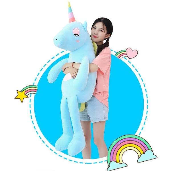 big plush unicorn 110cm blue