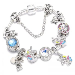 bracelet unicorn flower silver 20cm not dear