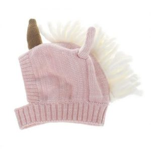 cap knitting hook baby new born unicorn beige