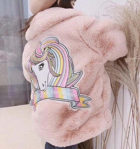coat hot unicorn child fur pink clear 10 years clothing unicorn