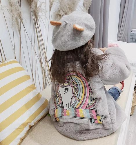 coat hot unicorn child fur pink clear 10 years old
