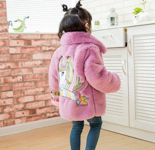 coat hot unicorn child fur pink clear 10 years price