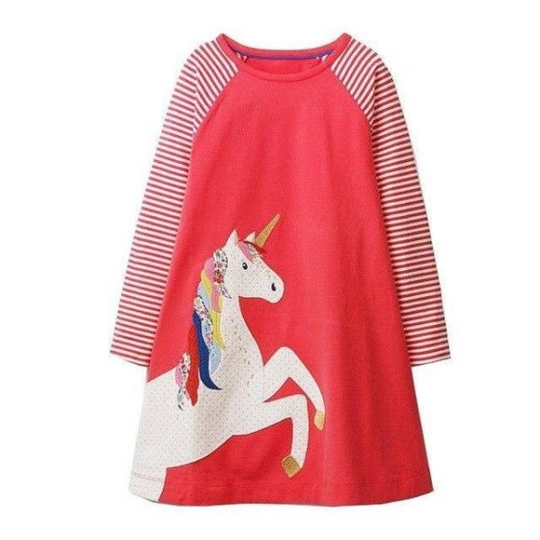 dress long unicorn red 6 7 years old 95 105cm