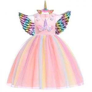 dress of party unicorn multicolored 13 14 years old 155 cm not dear