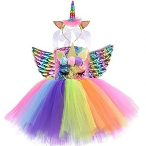 dress unicorn disguise multicolored girl 9 10 years old 140 150cm disguise unicorn