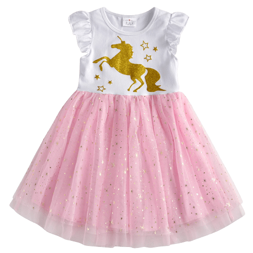 dress unicorn golden for girl 7 8 years