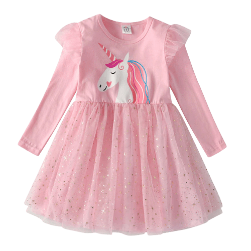 dress unicorn sleeves long pink 7 8 years at sell