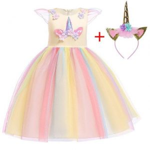 dress unicorn yellow girl 10 years 155cm not dear