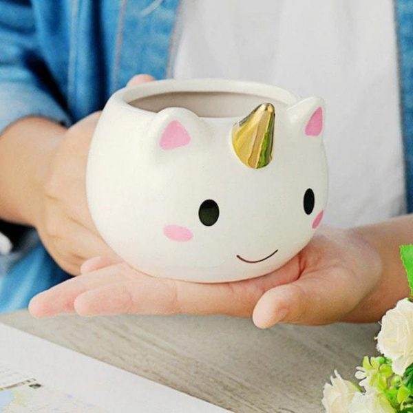 mug in form of unicorn ceramic gold at sell