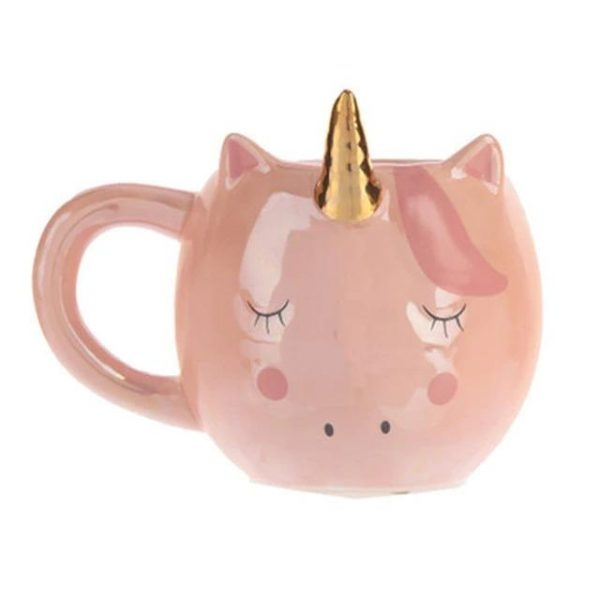 mug in form of unicorn pink kawaii white office and living room