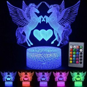 night light unicorn rechargeable remote control 16 colors