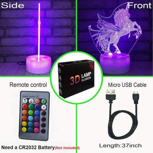 night light unicorn rechargeable remote control 16 colors at sell