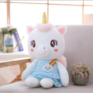 plush unicorn little girl 45cm blue buy