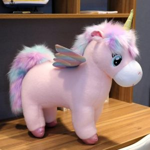 plush unicorn mane bow in sky 65cm at sell