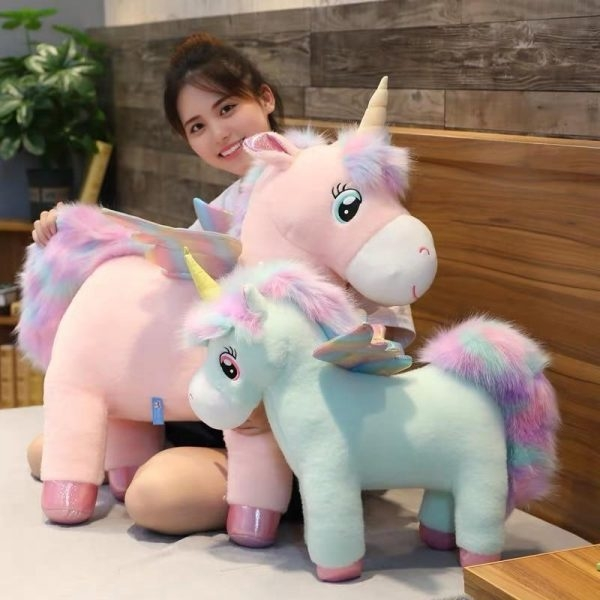 plush unicorn mane bow in sky 65cm unicorn stuffed animals