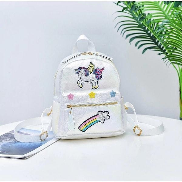 schoolbag white unicorn at sequins