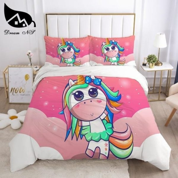 set of bed unicorn 140x200 260x220cm news unicorn