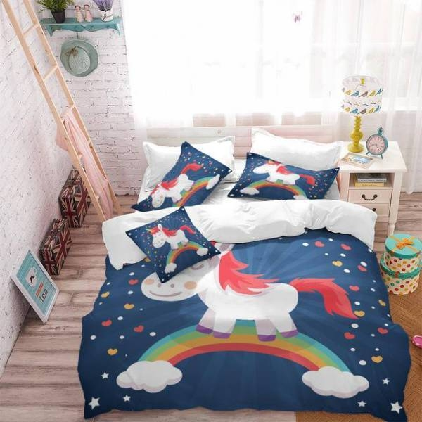 set of bed unicorn bedroom child 220x240cm at sell
