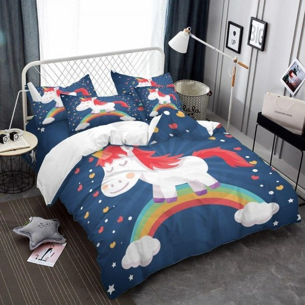 set of bed unicorn bedroom child 220x240cm unicorn stuffed animals