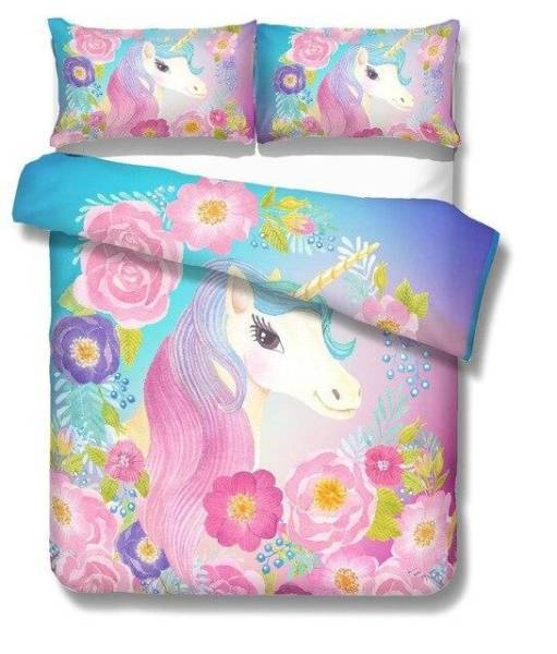 set of bed unicorn bedroom girl 220x260cm at sell