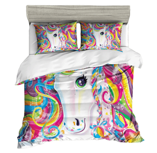 set of bed unicorn bow in sky 220x240cm