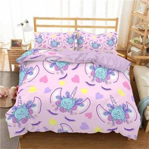 set of bed unicorn childish 220x240cm room