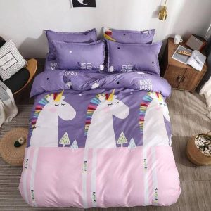 set of bed unicorn emoji purple 220x240cm price