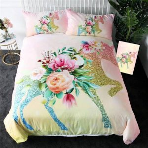 set of bed unicorn flower 220x240cm unicorn stuffed animals