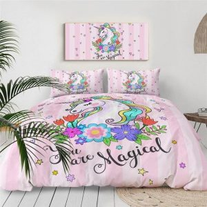 set of bed unicorn flowery 240x220cm unicorn stuffed animals