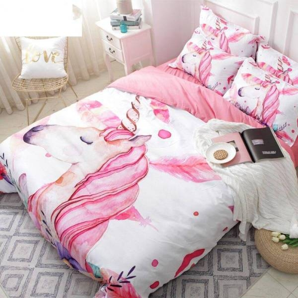 set of bed unicorn girl 220x240cm sheet at sell