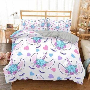 set of bed unicorn heart 220x240cm unicorn stuffed animals