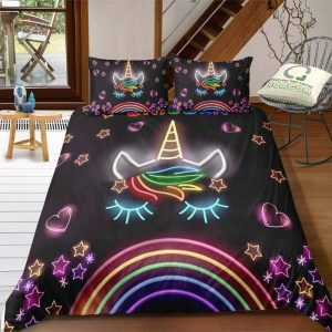 set of bed unicorn kawaii 3d 260x220 cm bedroom
