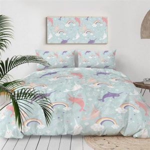 set of bed unicorn narwhal 220x240cm buy