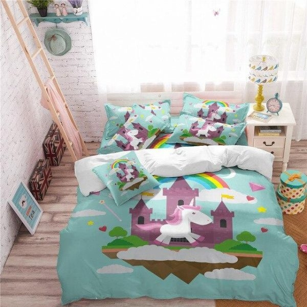 set of bed unicorn night nice to meet you 220x240cm at sell