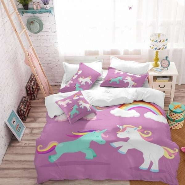 set of bed unicorn pink 220x240cm bedroom