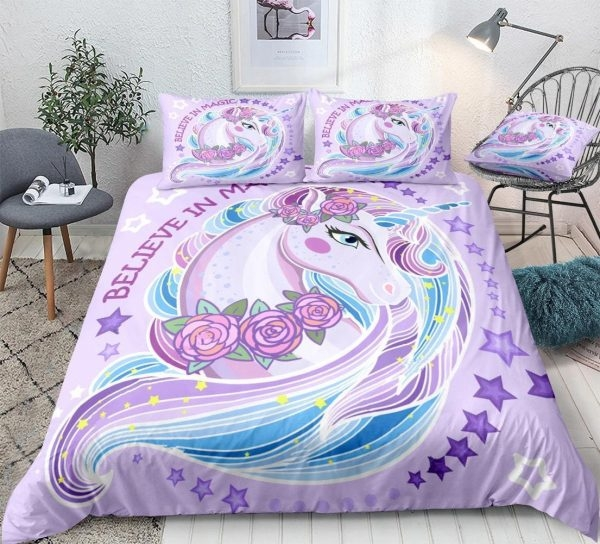 set of bed unicorn pink girl 220x240cm at sell