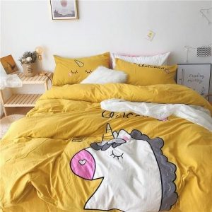 set of bed unicorn yellow 220x240cm at sell