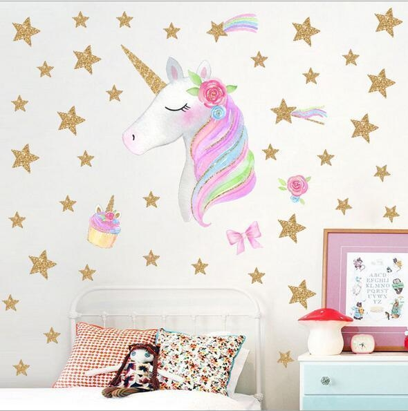 stickers murals unicorn star