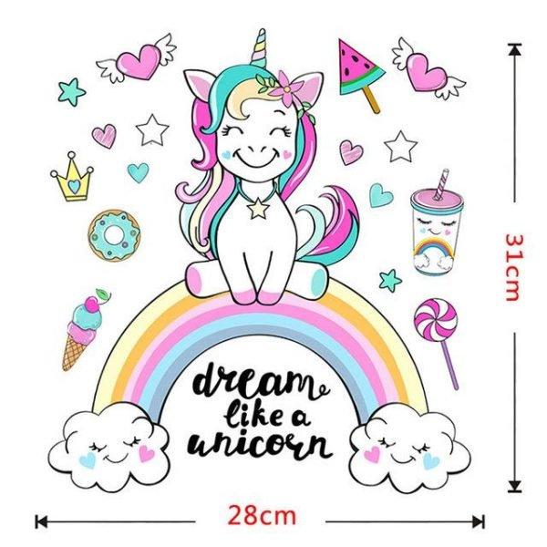 stickers unicorn decoration bedroom child l 54x60xm at sell
