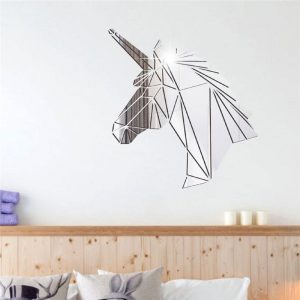 stickers wall head of unicorn silvery 38x40cm at sell