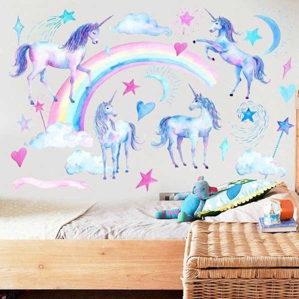 stickers wall unicorn bow in sky unicorn stuffed animals