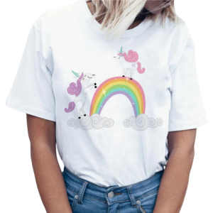 t shirt women unicorn kawaii bow in sky xxl