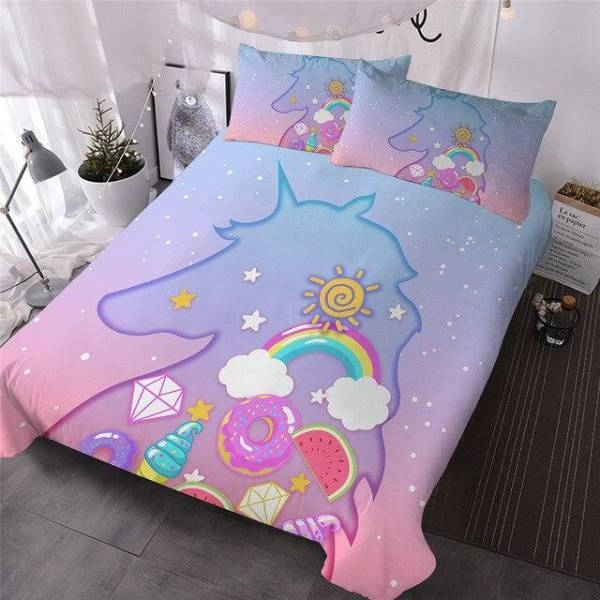 together of bedding pattern unicorn 220x240cm at sell