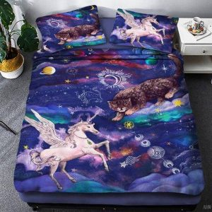 together of bedding unicorn galaxy 220x240cm
