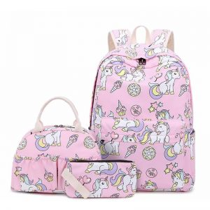 together school unicorn pink bag at back and backpack unicorn